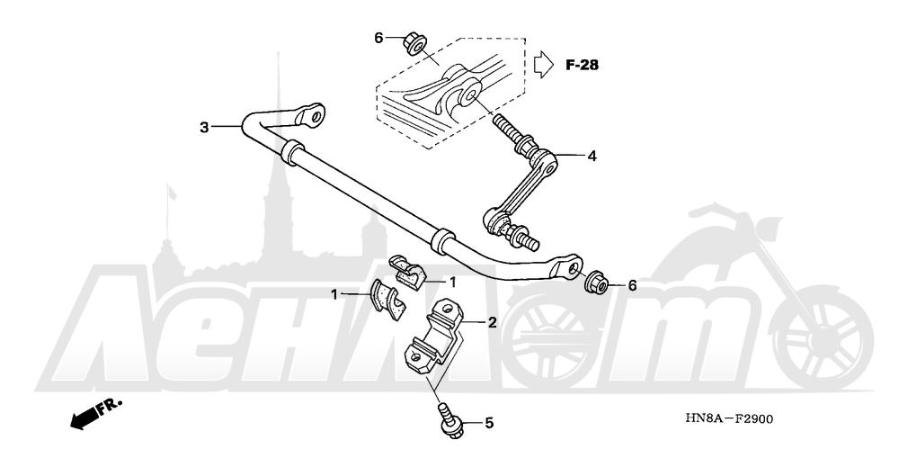 Запчасти для Квадроцикла Honda 2008 TRX680FA Раздел: STABILIZER | стабилизатор