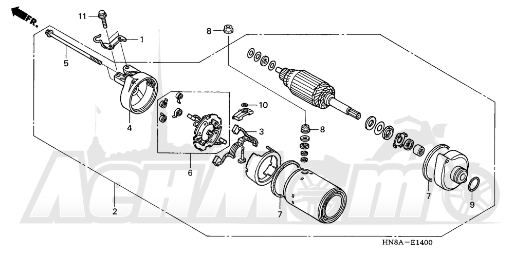 Запчасти для Квадроцикла Honda 2008 TRX680FA Раздел: STARTER MOTOR | электростартер