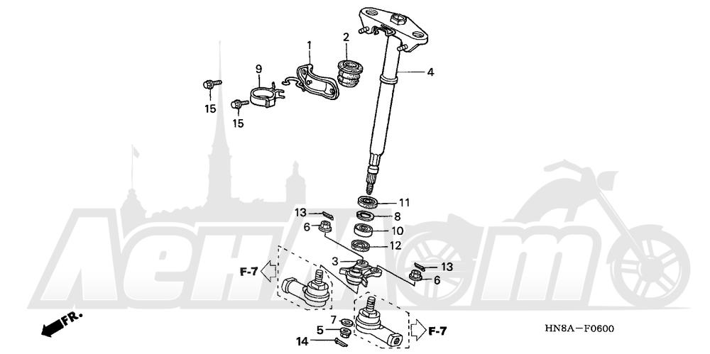 Запчасти для Квадроцикла Honda 2008 TRX680FA Раздел: STEERING SHAFT | рулевой вал