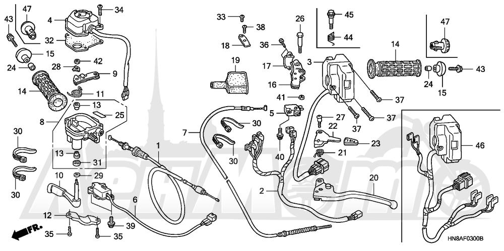Запчасти для Квадроцикла Honda 2008 TRX680FA Раздел: HANDLE LEVERS AND SWITCHES AND CABLES | ручка LEVERS и выключатели, переключатели и тросики, кабели