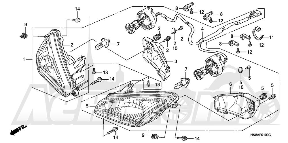 Запчасти для Квадроцикла Honda 2008 TRX680FA Раздел: HEADLIGHT | передняя фара