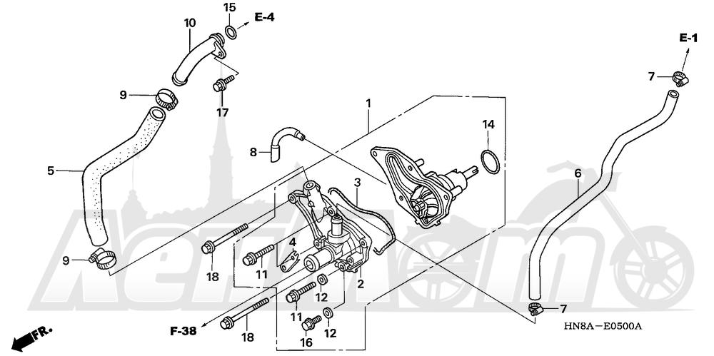 Запчасти для Квадроцикла Honda 2008 TRX680FA Раздел: WATER PUMP   водяная помпа