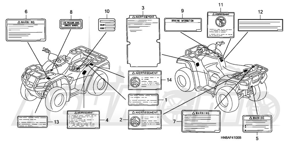 Запчасти для Квадроцикла Honda 2008 TRX680FGA Раздел: LABELS | этикетки, метки