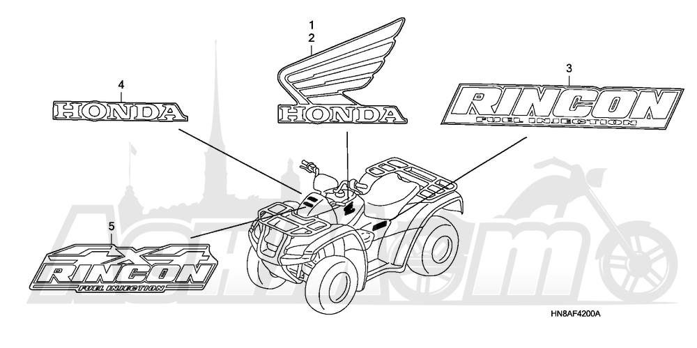 Запчасти для Квадроцикла Honda 2008 TRX680FGA Раздел: MARKS | MARKS