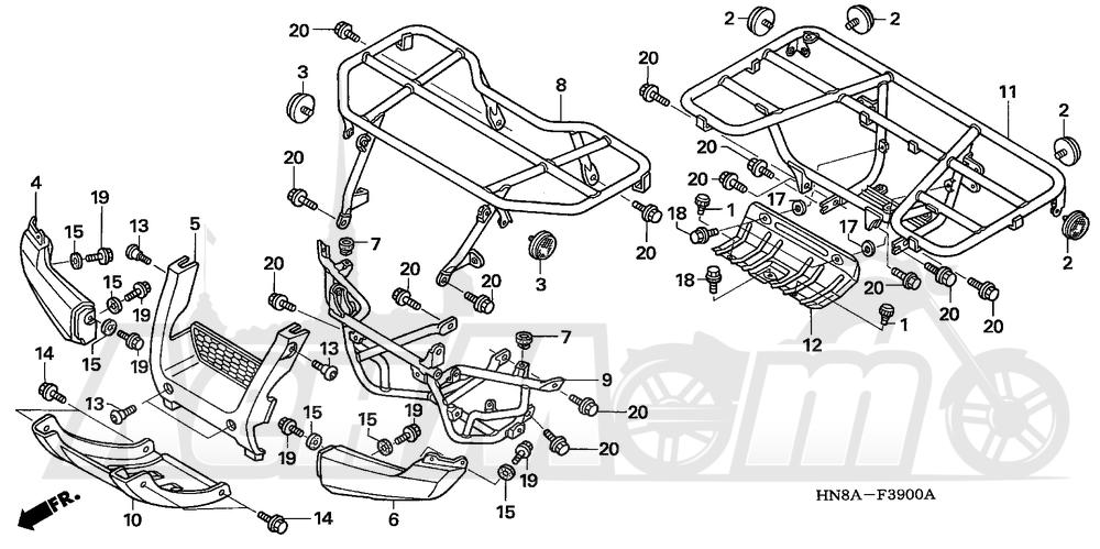 Запчасти для Квадроцикла Honda 2008 TRX680FGA Раздел: CARRIER | багажник