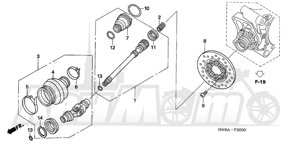 Запчасти для Квадроцикла Honda 2008 TRX680FGA Раздел: PROPELLER SHAFT | карданный вал