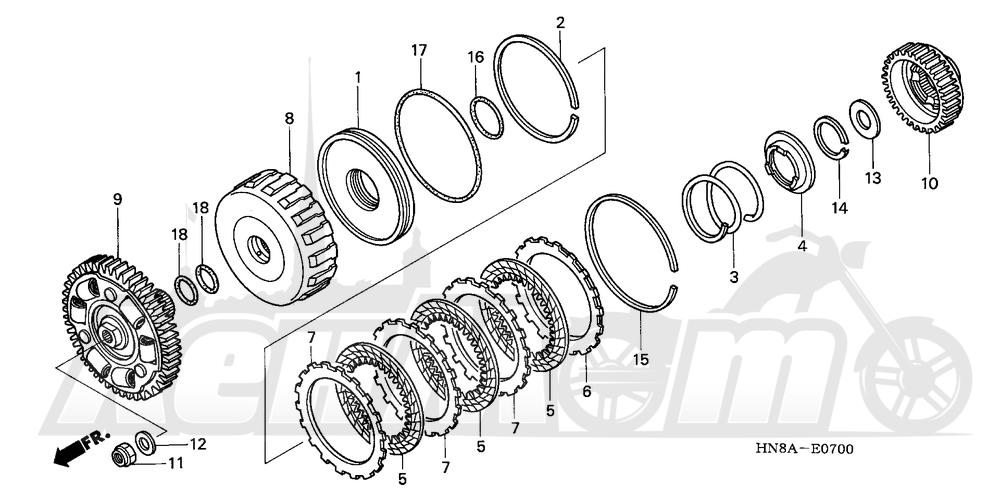 Запчасти для Квадроцикла Honda 2008 TRX680FGA Раздел: CLUTCH (LOW) | сцепление (низкий)