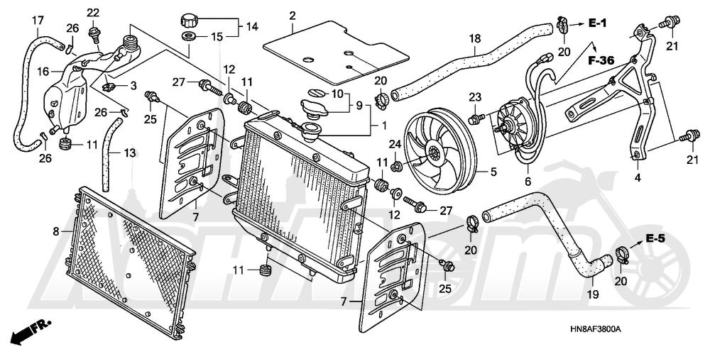 Запчасти для Квадроцикла Honda 2008 TRX680FGA Раздел: RADIATOR | радиатор