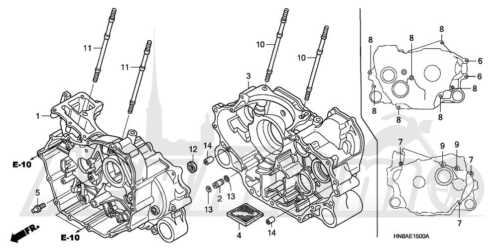 Запчасти для Квадроцикла Honda 2008 TRX680FGA Раздел: CRANKCASE | картер