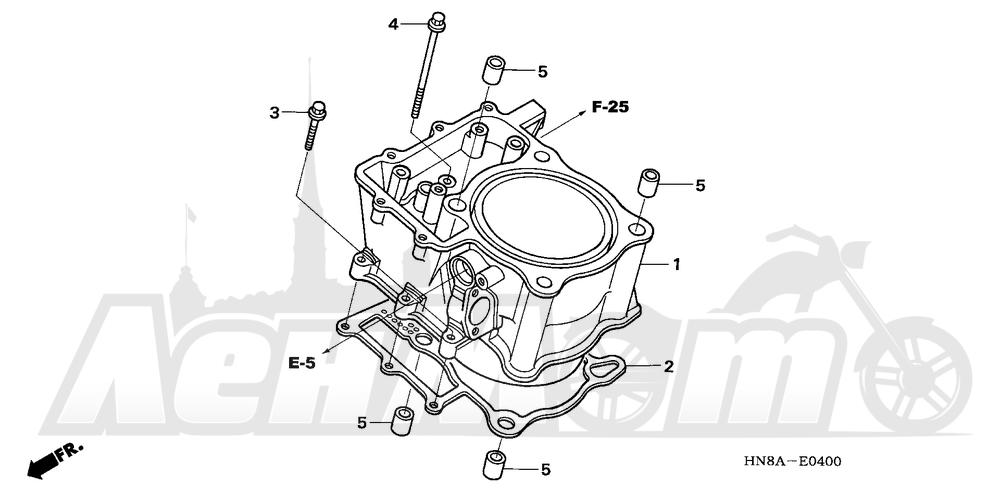 Запчасти для Квадроцикла Honda 2008 TRX680FGA Раздел: CYLINDER | цилиндр