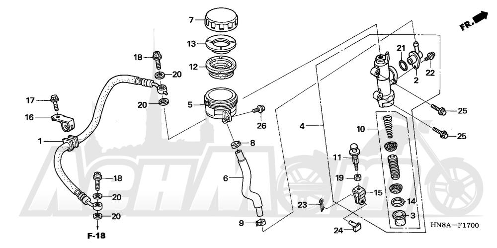 Запчасти для Квадроцикла Honda 2008 TRX680FGA Раздел: REAR BRAKE MASTER CYLINDER | задний тормоз главный цилиндр
