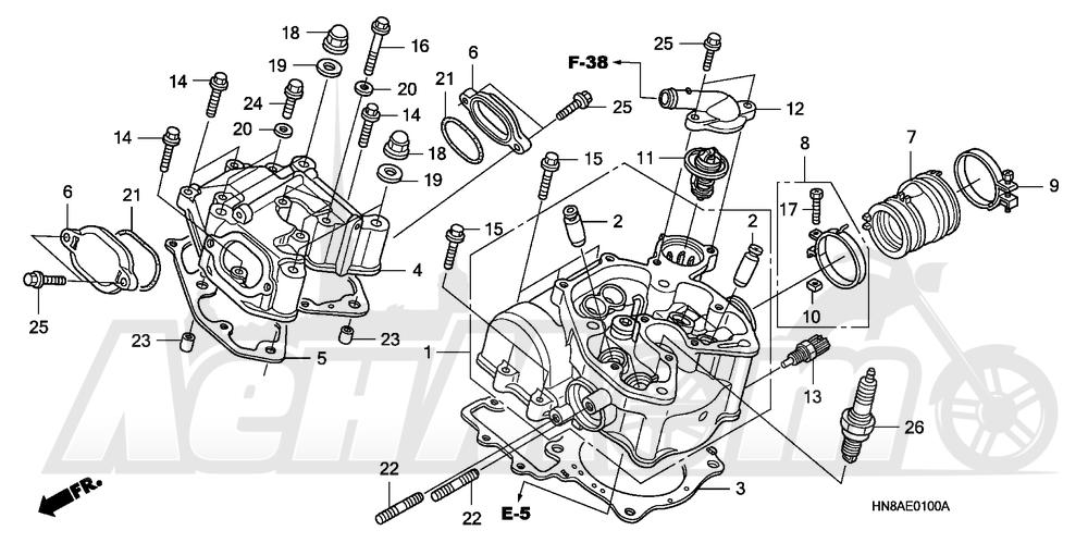 Запчасти для Квадроцикла Honda 2008 TRX680FGA Раздел: CYLINDER HEAD | головка цилиндра