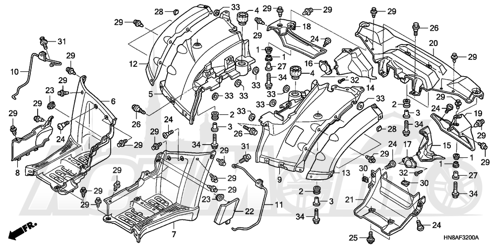 Запчасти для Квадроцикла Honda 2008 TRX680FGA Раздел: REAR FENDER   заднее крыло
