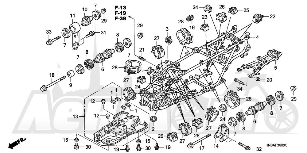 Запчасти для Квадроцикла Honda 2008 TRX680FGA Раздел: FRAME | рама