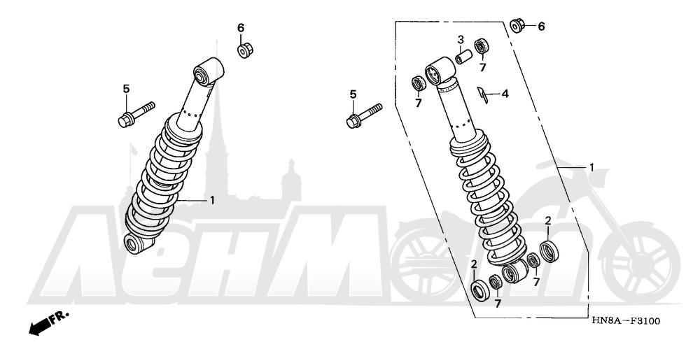 Запчасти для Квадроцикла Honda 2008 TRX680FGA Раздел: REAR SHOCK ABSORBER   зад амортизатор