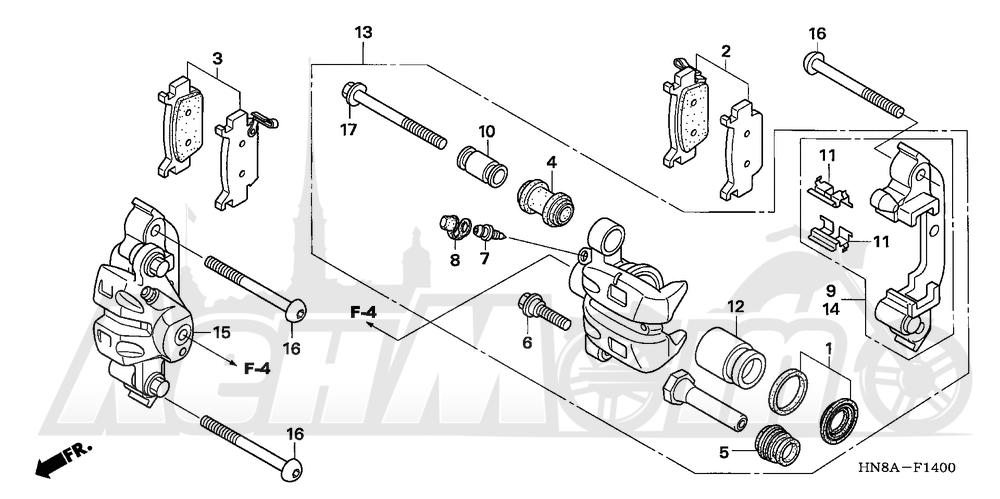 Запчасти для Квадроцикла Honda 2008 TRX680FGA Раздел: FRONT BRAKE CALIPER | передний тормоз суппорт