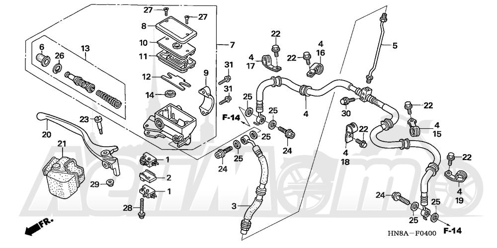 Запчасти для Квадроцикла Honda 2008 TRX680FGA Раздел: FRONT BRAKE MASTER CYLINDER | передний тормоз главный цилиндр
