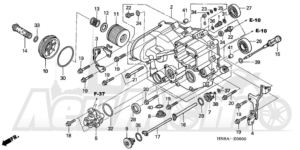 Запчасти для Квадроцикла Honda 2008 TRX680FGA Раздел: FRONT CRANKCASE COVER | перед крышка картера