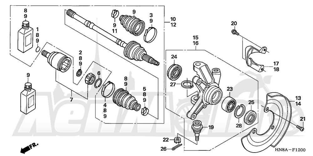 Запчасти для Квадроцикла Honda 2008 TRX680FGA Раздел: FRONT KNUCKLE | перед кулак