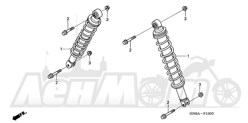 Запчасти для Квадроцикла Honda 2008 TRX680FGA Раздел: FRONT SHOCK ABSORBER | перед амортизатор