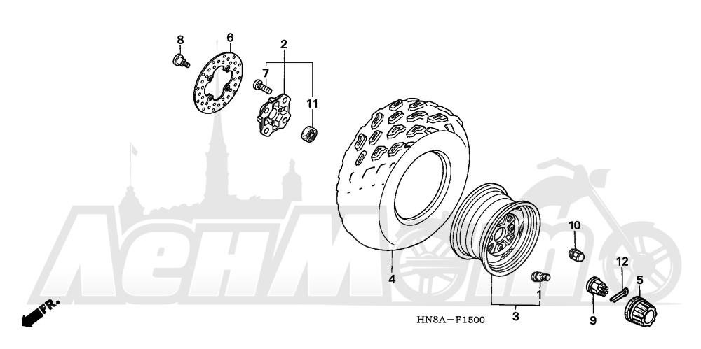 Запчасти для Квадроцикла Honda 2008 TRX680FGA Раздел: FRONT WHEEL | переднее колесо
