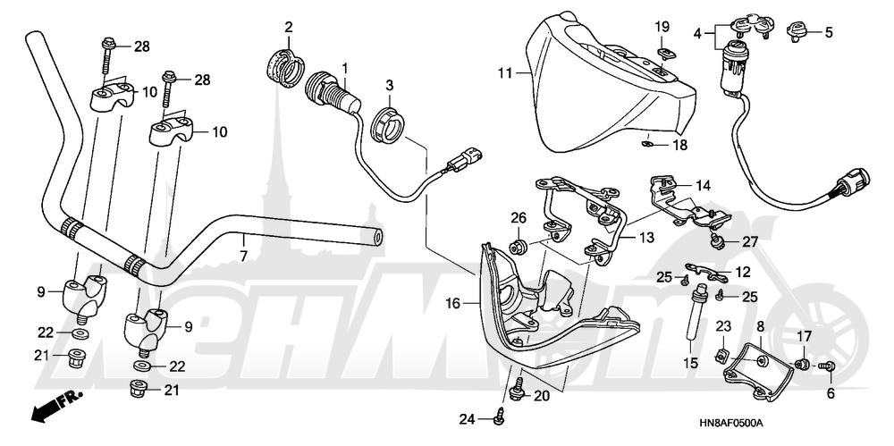 Запчасти для Квадроцикла Honda 2008 TRX680FGA Раздел: HANDLEBAR   руль