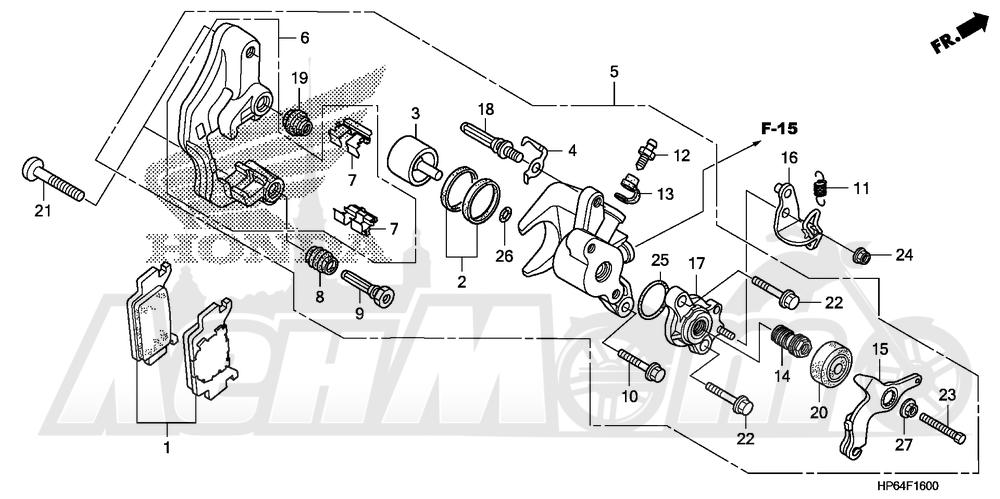 Запчасти для Квадроцикла Honda 2008 TRX700XX Раздел: REAR BRAKE CALIPER | задний тормоз суппорт