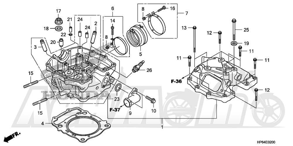 Запчасти для Квадроцикла Honda 2008 TRX700XX Раздел: CYLINDER HEAD | головка цилиндра
