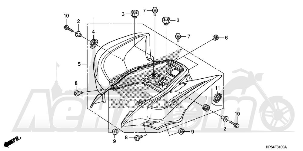 Запчасти для Квадроцикла Honda 2008 TRX700XX Раздел: REAR FENDER | заднее крыло