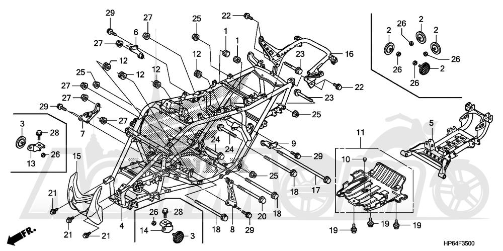 Запчасти для Квадроцикла Honda 2008 TRX700XX Раздел: FRAME   рама