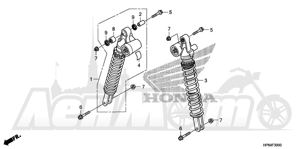 Запчасти для Квадроцикла Honda 2008 TRX700XX Раздел: REAR SHOCK ABSORBER | зад амортизатор
