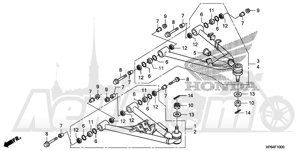 Запчасти для Квадроцикла Honda 2008 TRX700XX Раздел: FRONT ARM | передний рычаг