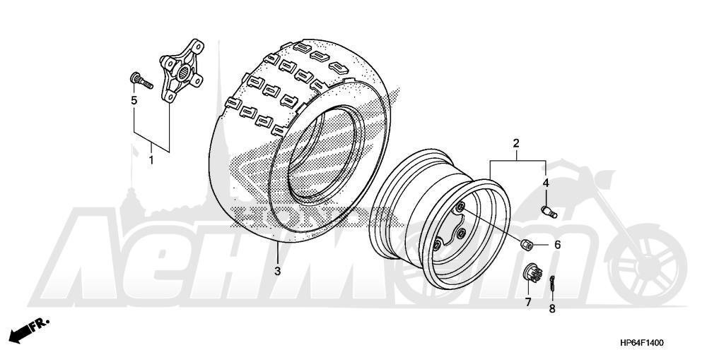 Запчасти для Квадроцикла Honda 2008 TRX700XX Раздел: REAR WHEEL | заднее колесо
