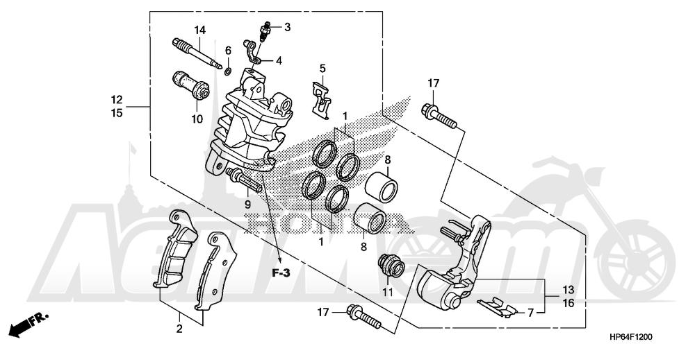 Запчасти для Квадроцикла Honda 2008 TRX700XX Раздел: FRONT BRAKE CALIPER   передний тормоз суппорт