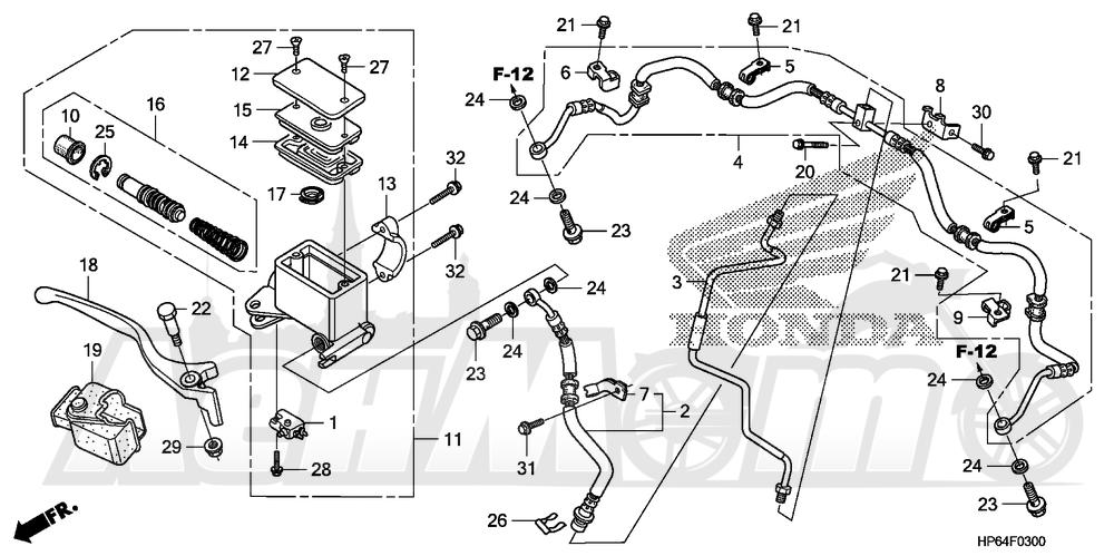 Запчасти для Квадроцикла Honda 2008 TRX700XX Раздел: FRONT BRAKE MASTER CYLINDER | передний тормоз главный цилиндр
