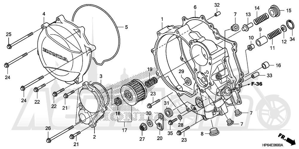 Запчасти для Квадроцикла Honda 2008 TRX700XX Раздел: RIGHT CRANKCASE COVER   правая сторона крышка картера