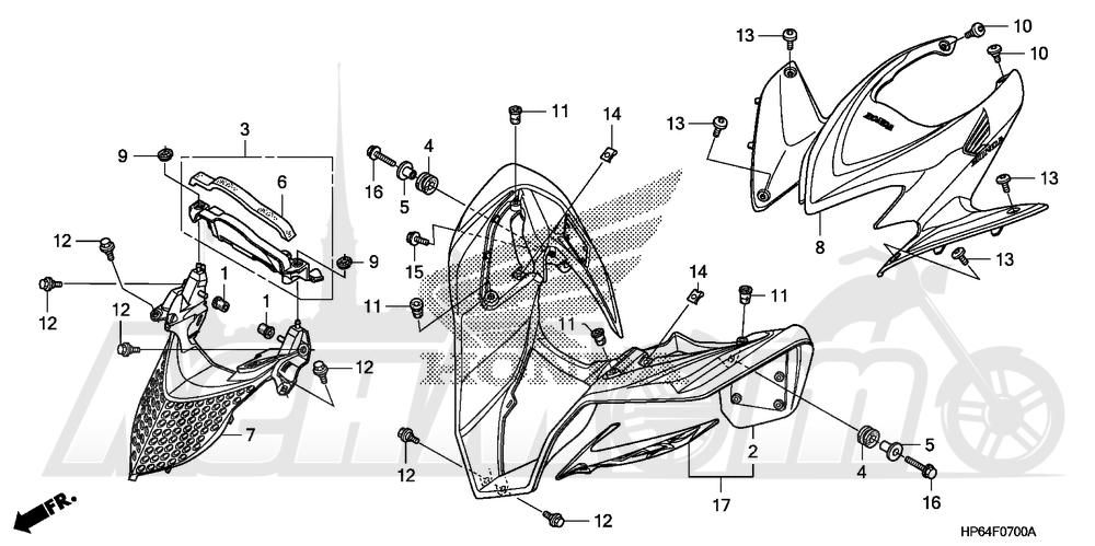 Запчасти для Квадроцикла Honda 2008 TRX700XX Раздел: FRONT FENDER | переднее крыло