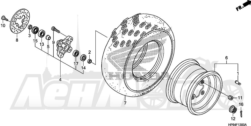 Запчасти для Квадроцикла Honda 2008 TRX700XX Раздел: FRONT WHEEL | переднее колесо