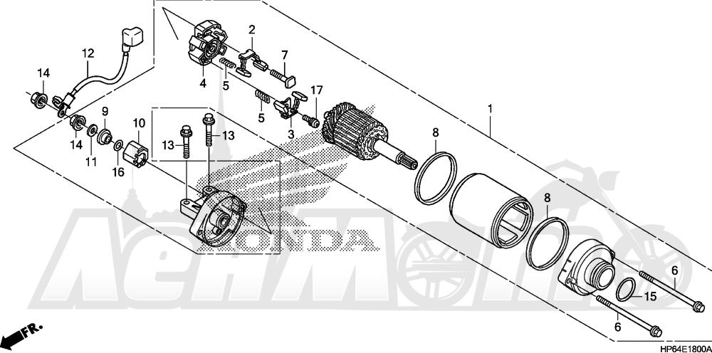 Запчасти для Квадроцикла Honda 2008 TRX700XX Раздел: STARTER MOTOR   электростартер