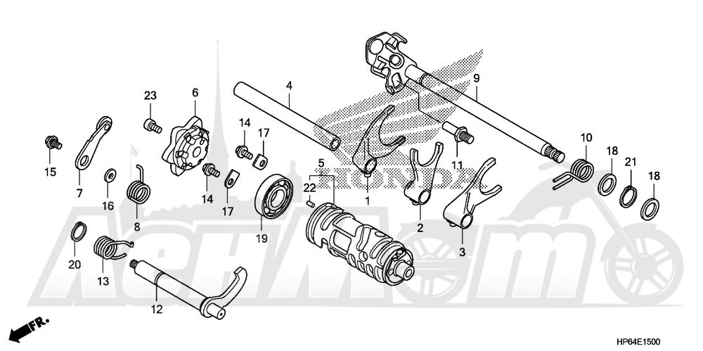 Запчасти для Квадроцикла Honda 2008 TRX700XX Раздел: GEAR SHIFT DRUM AND GEAR SHIFT FORK | шестерня переключение барабан и шестерня вилка переключения