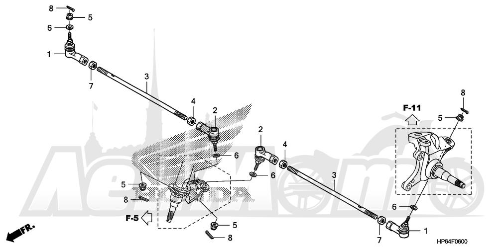 Запчасти для Квадроцикла Honda 2008 TRX700XX Раздел: TIE ROD | рулевая тяга