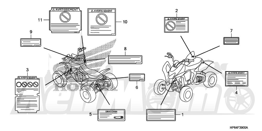 Запчасти для Квадроцикла Honda 2008 TRX700XX Раздел: LABELS   этикетки, метки
