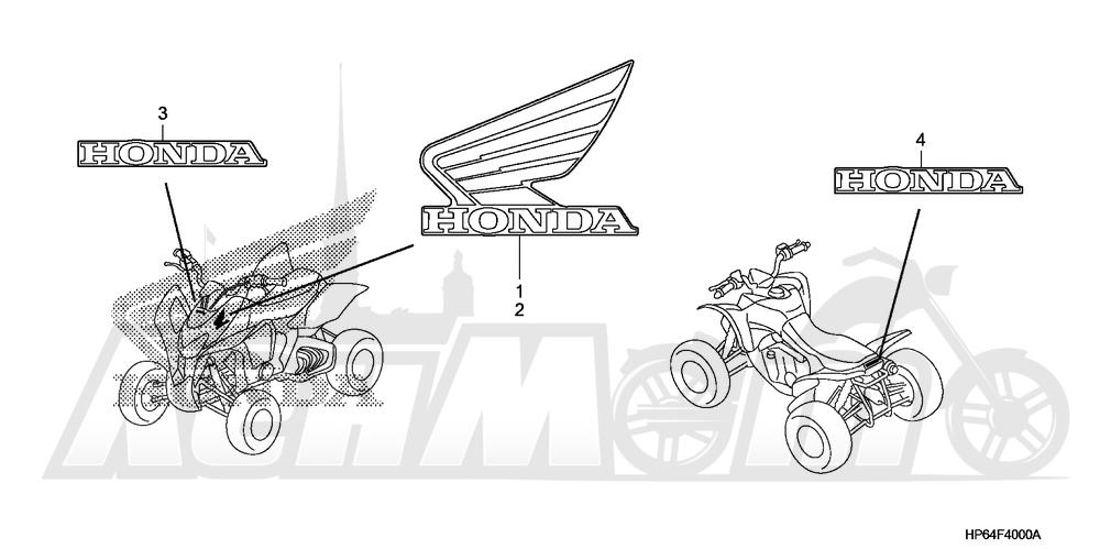 Запчасти для Квадроцикла Honda 2008 TRX700XX Раздел: MARK (A / CM / YA) | знак (A/CM/YA)