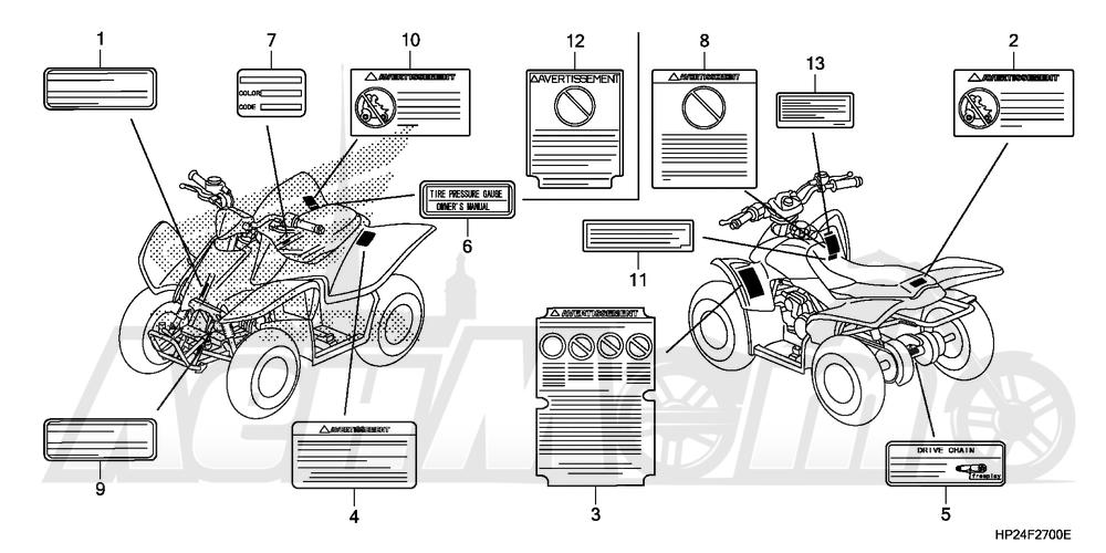 Запчасти для Квадроцикла Honda 2008 TRX90EX Раздел: LABELS | этикетки, метки