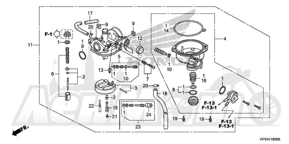Запчасти для Квадроцикла Honda 2008 TRX90EX Раздел: CARBURETOR | карбюратор