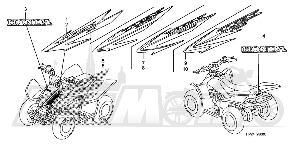 Запчасти для Квадроцикла Honda 2008 TRX90EX Раздел: MARK (1) | знак (1)