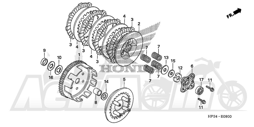Запчасти для Квадроцикла Honda 2008 TRX90EX Раздел: CLUTCH | сцепление