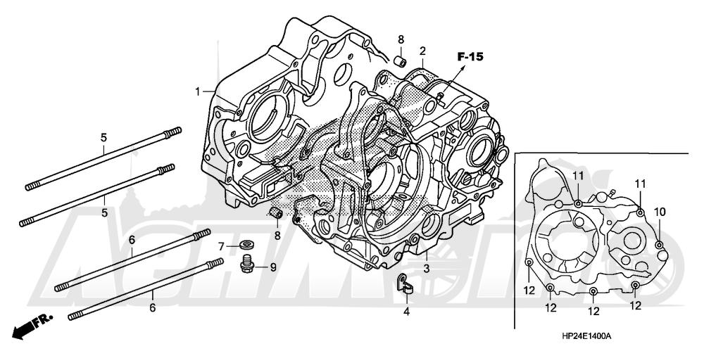 Запчасти для Квадроцикла Honda 2008 TRX90EX Раздел: CRANKCASE | картер