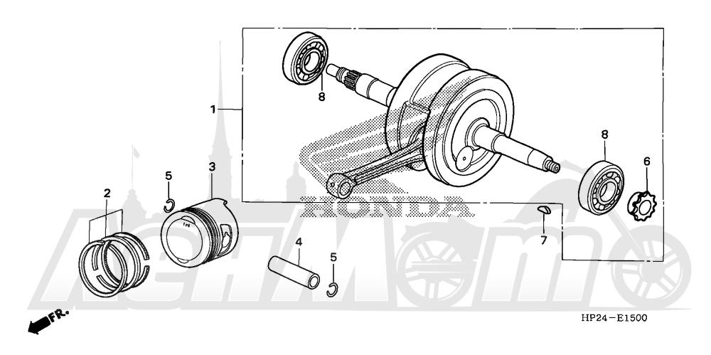 Запчасти для Квадроцикла Honda 2008 TRX90EX Раздел: CRANKSHAFT AND PISTON | коленвал и поршень
