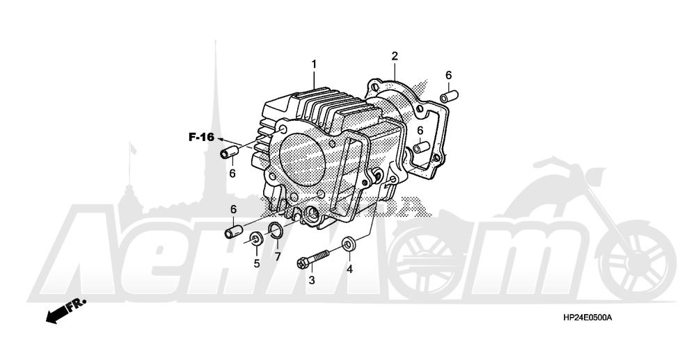 Запчасти для Квадроцикла Honda 2008 TRX90EX Раздел: CYLINDER   цилиндр